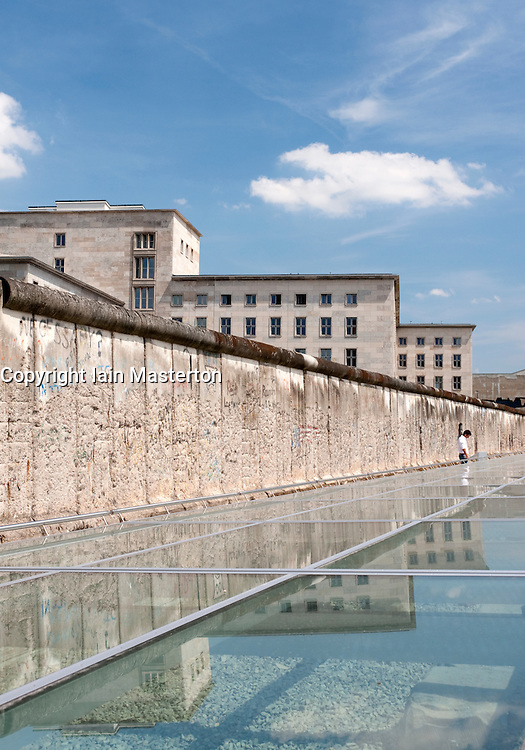 Original section of Berlin Wall at new Topographie des Terrors visitor center on site of former Gestapo Headquarters in Berlin Germany