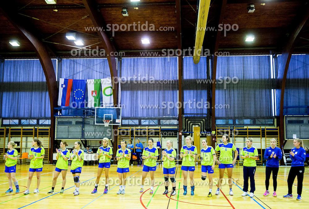 Players of RK Ljubljana during handball match between RK Ljubljana and RK GEN-I Zagorje in semifinal of 11th Memorial Vinka Kandije, on September 12, 2014 in Arena Galjevica, Ljubljana, Slovenia. Photo by Vid Ponikvar  / Sportida.com