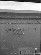 View of the parade from the stands during the All Ireland Senior Gaelic Football Final Kerry v Down in Croke Park on the 22nd September 1960. Down 2-10 Kerry 0-8.