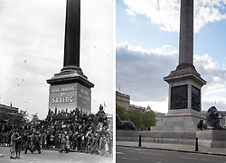 File photo dated 08/05/45 showing huge crowds at Trafalgar Square, London, celebrating VE (Victory in Europe) Day in London, marking the end of the Second World War in Europe, 75 years ago, and how it looked 2/5/2020.