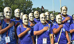 October 2, 2018 - Kolkata, West Bengal, India - People wear masks of Mahatma Gandhi and participate in a walk organized by Ministry of Culture and Indian Museum to commemorate the Mahatma Gandhi 149th birth anniversary. (Credit Image: © Saikat Paul/Pacific Press via ZUMA Wire)