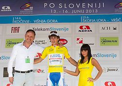 Mag. Zoran Vehovar of Telekom Slovenije and Winner Fabio Felline (ITA) of Androni-Ciocattoli in yellow jersey during flower ceremony after the Stage 2 from Kocevje to Visnja Gora (168,5 km) of cycling race 20th Tour de Slovenie 2013,  on June 14, 2013 in Slovenia. (Photo By Vid Ponikvar / Sportida)