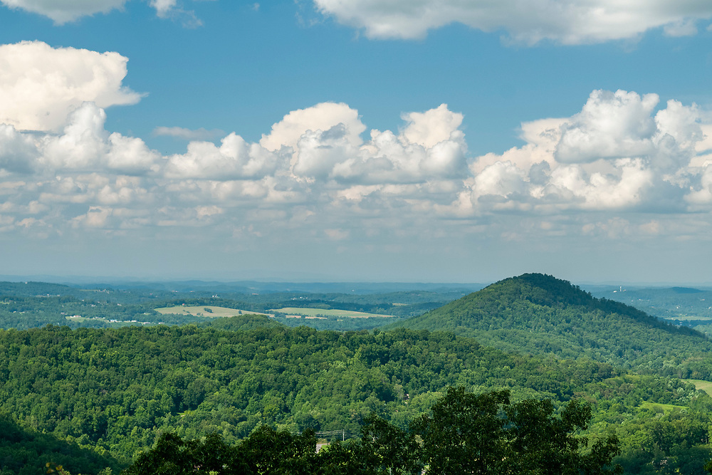 View of Kelly Knob (right) at the Stone Mountain Overlook on the Foothills Parkway in Great Smoky Mountains National Park in Cosby, Tennessee on Tuesday, August 11, 2020. Copyright 2020 Jason Barnette