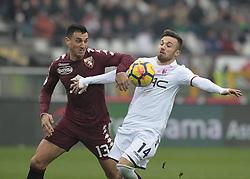 January 6, 2018 - Turin, Italy - Federico Di Francesco and Nicolas Burdisso during Serie A match between Torino v Bologna, in Turin, on January 6, 2018  (Credit Image: © Loris Roselli/NurPhoto via ZUMA Press)