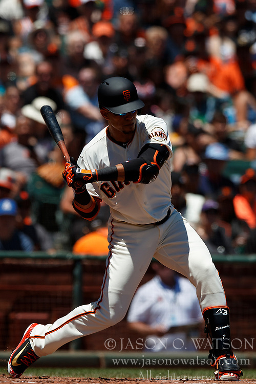 SAN FRANCISCO, CA - JULY 15: Gorkys Hernandez #7 of the San Francisco Giants at bat against the Oakland Athletics during the second inning at AT&T Park on July 15, 2018 in San Francisco, California. The Oakland Athletics defeated the San Francisco Giants 6-2. (Photo by Jason O. Watson/Getty Images) *** Local Caption *** Gorkys Hernandez