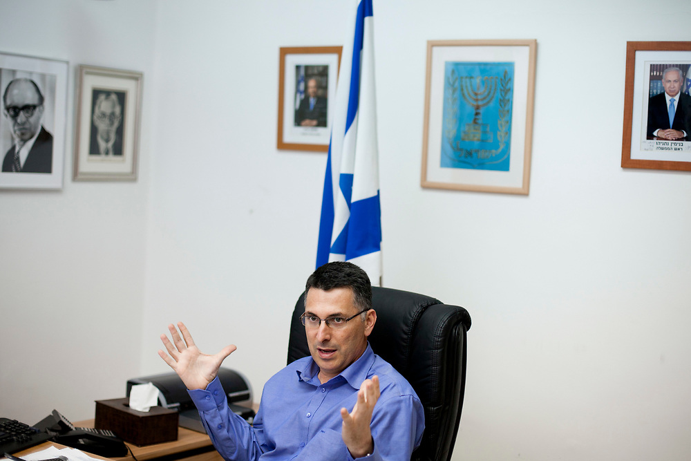 Israel's Minister of Education, Gideon Sa'ar gestures as he speaks during an interview at his office in Jerusalem on July 11, 2011.