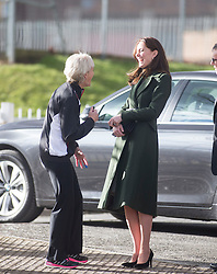 The Duchess of Cambridge arriving at Craigmount High School, and met by Judy Murray.