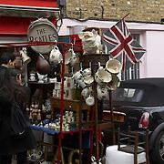 Busy stalls in Portobello Road market, London