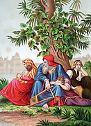 Constancy of the Jews in captivity. 'By the rivers of Babylon, there we sat down, yea, we wept when we remembered Zion'. 'Bible': Psalm 137. Chromolithograph c1860. Jews made captive in Babylon by king Nebuchadnezzar (Nebuchadrezzar) 597 BC until released