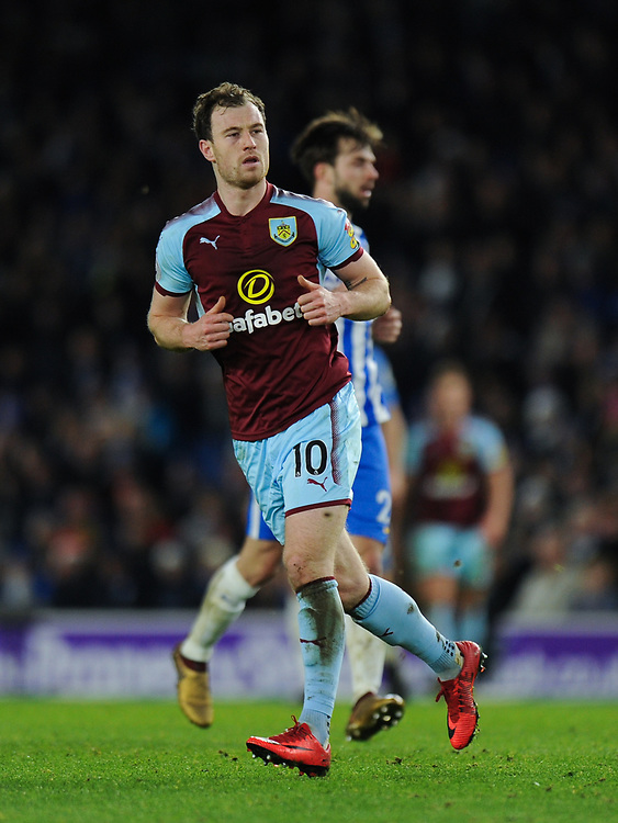 Burnley's Ashley Barnes<br /> <br /> Photographer Ashley Western/CameraSport<br /> <br /> The Premier League - Brighton and Hove Albion v Burnley - Saturday 16th December 2017 - The Amex Stadium - Brighton<br /> <br /> World Copyright © 2017 CameraSport. All rights reserved. 43 Linden Ave. Countesthorpe. Leicester. England. LE8 5PG - Tel: +44 (0) 116 277 4147 - admin@camerasport.com - www.camerasport.com