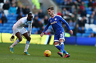Joe Bennett of Cardiff city (3)  in action. EFL Skybet championship match, Cardiff city v Aston Villa at the Cardiff City Stadium in Cardiff, South Wales on Monday 2nd January 2017.<br /> pic by Andrew Orchard, Andrew Orchard sports photography.