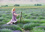 Blonde artist painting in a lavender field in Utah.