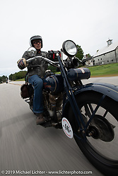 Australian (and Great Race organizer) Dave Reide riding his 1928 Harley-Davidson model J in the Motorcycle Cannonball coast to coast vintage run. Stage-1 (145-miles) from Portland, Maine to Keene, NH. Saturday September 8, 2018. Photography ©2018 Michael Lichter.
