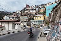 Long distance cyclist entering Valparaiso, Chile