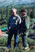 Park Ranger Larry Van Slyke with visitor Bob Trask leading an ARAS group camping on Upper Twin Lake, Lake Clark National Park, Alaska.