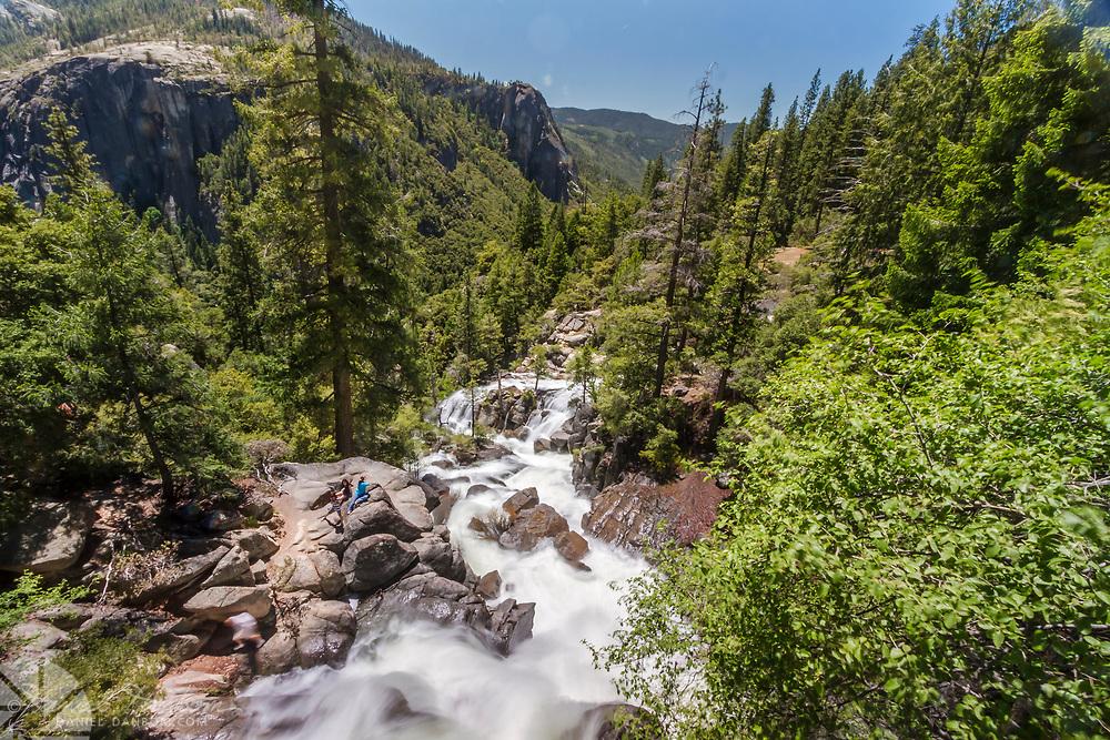 Tamarack Creek falling away into the Yosemite Valley, from the bridge at Highway 120, Yosemity National Park