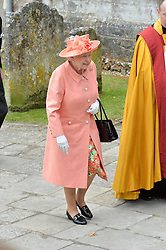 HM The Queen at the wedding of the Hon.Alexandra Knatchbull to Thomas Hooper held at Romsey Abbey, Romsey, Hampshire on 25th June 2016