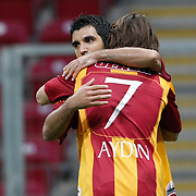 Galatasaray's Juan Emmanuel CULIO (B) celebrate his goal with team mate during their Turkish Super League soccer match Galatasaray between Konyaspor at the T T Arena at Seyrantepe in Istanbul Turkey on Sunday, 20 May 2011. Photo by TURKPIX