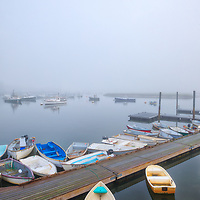 Foggy New England harbor fine art photography of Green Harbor in Marshfield, Massachusetts. The fog beautifully created a serene harbor scenery.<br />