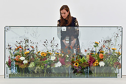 """© Licensed to London News Pictures. 13/09/2017. London, UK. A woman views """"Air Purifier"""", 2011, by Sangjin Kim.  Preview of the START Art Fair at the Saatchi Gallery in Chelsea.  The fair showcases the best emerging artists from developing markets across the globe and is open to the public 14 to 17 September. Photo credit : Stephen Chung/LNP"""