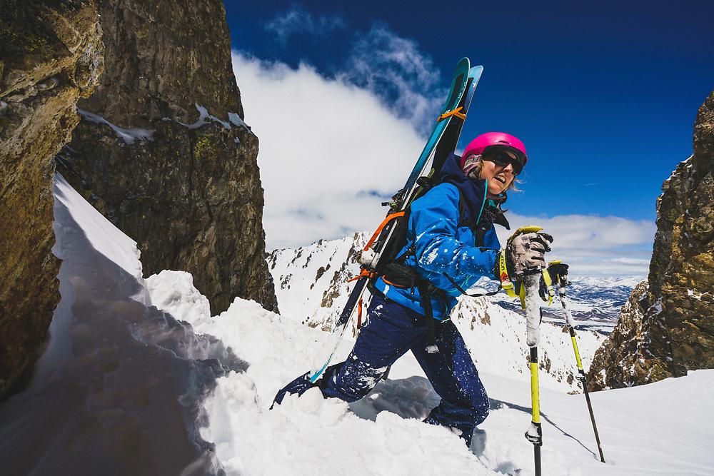 Lucy Sackbauer reaches the top of the JC Couloir, Sawtooth Range, Idaho.