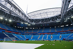 July 2, 2018 - St Petersburg, RUSSIA - 180702 Parts of the pitch is covered at the Swedish national football team's practice session during the FIFA World Cup on July 2, 2018 at Saint Petersburg Stadium in St Petersburg..Photo: Joel Marklund / BILDBYRN / kod JM / 87743 (Credit Image: © Joel Marklund/Bildbyran via ZUMA Press)