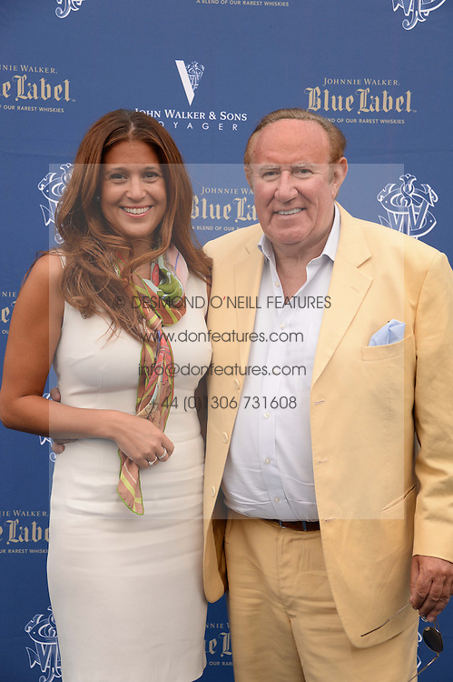 The Johnnie Walker Blue Label and David Gandy Drinks Reception aboard John Walker & Sons Voyager, St.Georges Stairs Tier, Butler's Wharf Pier, London, UK on 16th July 2013.<br /> Picture Shows:-Andrew Neil and Susan Nillson.