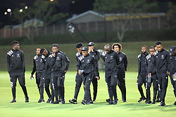 17032018 (Durban) Orlando Pirates players on the pitch the checking turf before their match against Golden Arrows when Orlando Pirates walloped Golden Arrows 2-1 at the ABSA premier league encounter at Princess Magogo Staduim; in Kwa-Mashu; Durban. Pirates has advance their league position to number 2 with 41 points after Sundowns with 42 points lead.<br /> Picture: Motshwari Mofokeng/African New Agency/ANA
