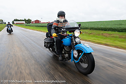 John Bartman riding his 1940 Harley-Davidson ULH Flathead in the Cross Country Chase motorcycle endurance run from Sault Sainte Marie, MI to Key West, FL (for vintage bikes from 1930-1948). Stage 3 from Milwaukee, WI to Urbana, IL. USA. Sunday, September 8, 2019. Photography ©2019 Michael Lichter.