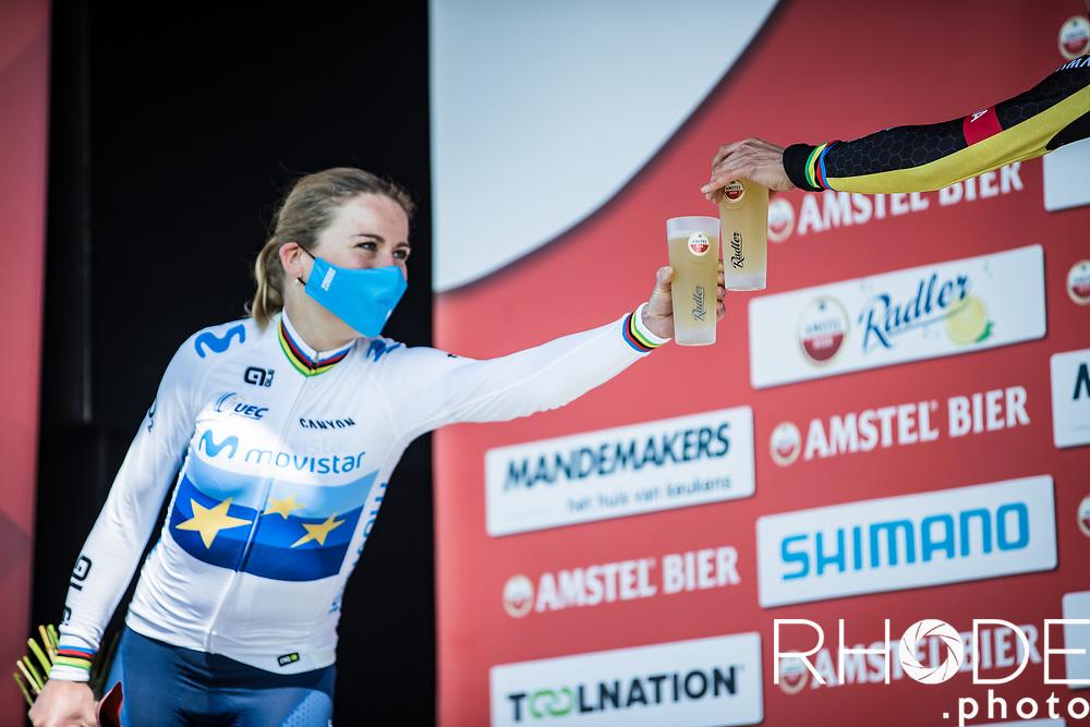 2 former World Champions on the podium: cheers to that!<br /> <br /> 7th Amstel Gold Race Ladies Edition <br /> Valkenburg > Valkenburg 116km<br /> <br /> ©RhodePhoto