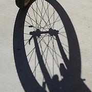 Mountain bike wheel and shadow, front view. Bike-tography by Martha Retallick.