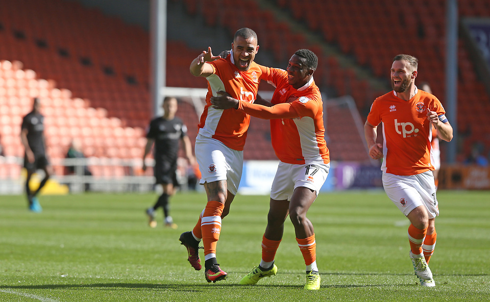 Blackpool's Kyle Vassell celebrates scoring the opening goal with team-mates Viv Solomon-Otabor and Jimmy Ryan (right) <br /> <br /> Photographer Stephen White/CameraSport<br /> <br /> The EFL Sky Bet League One - Blackpool v Oxford United - Saturday 16th September 2017 - Bloomfield Road - Blackpool<br /> <br /> World Copyright © 2017 CameraSport. All rights reserved. 43 Linden Ave. Countesthorpe. Leicester. England. LE8 5PG - Tel: +44 (0) 116 277 4147 - admin@camerasport.com - www.camerasport.com