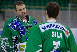 Goalkeeper Mike Morrison and Ales Sila of HDD Tilia Olimpija before new season 2008/2009,  on September 17, 2008 in Arena Tivoli, Ljubljana, Slovenia. (Photo by Vid Ponikvar / Sportal Images)