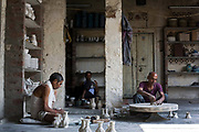 Artisan Potters at work at a factory in Sanganer, Jaipur, India