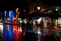 Miami Beach, FL - February 2, 2009 - Ocean Drive and 8th Street at night after rain, Ocean Drive is the heart of the Art Deco district in South Beach a very popular tourist destination.