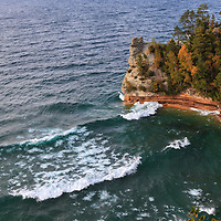 """""""Windy Day at Miners Castle""""<br /> <br /> An amazing view of Miners Castle in Michigan's Upper Peninsula on a very windy autumn day! Waves were rolling in and crashing against the rock formations!"""