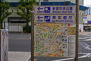 Tourist information sign with road map in Tokyo, Japan