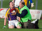 SFC final at Pairc Tailteann, Navan. Seneschalstown vs Wolf Tones.Cian Ward receives attention after sustaining an injury early in the first half.Photo: © David Mullen / quirke.ie