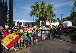 March 26, 2018 - Miami, Florida, United States - Fans of Denis Shapovalov, from Canada, gather outside the Grand Stand court of the Miami Open to get authographs and photos with the upcoming tennis star  after he defeated Sam Querry in Key Biscayne, on March 26, 2018. (Credit Image: © Manuel Mazzanti/NurPhoto via ZUMA Press)