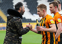 Hull City vice chairman Ehab Allam celebrates with players after the match<br /> <br /> Photographer Alex Dodd/CameraSport<br /> <br /> The EFL Sky Bet League One - Hull City v Wigan Athletic - Saturday 1st May 2021 - KCOM Stadium - Kingston upon Hull<br /> <br /> World Copyright © 2021 CameraSport. All rights reserved. 43 Linden Ave. Countesthorpe. Leicester. England. LE8 5PG - Tel: +44 (0) 116 277 4147 - admin@camerasport.com - www.camerasport.com