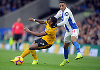 Football - 2018 / 2019 Premier League - Brighton & Hove Albion vs. Wolverhampton Wanderers<br /> <br /> Anthony Knockaert of Brighton pulls back Ivan Cavaleiro of Wolves around his face, at The Amex.<br /> <br /> COLORSPORT/ANDREW COWIE