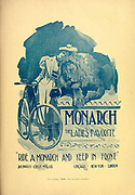 Monarch Bicycles, The Ladies favorite - Ride a Monarch and keep in front ad by the Monarch cycling Mfg Co. Appeared in a monthly magazine called 'Birds : illustrated by color photography' a monthly serial. Knowledge of Bird-life in 1897.