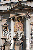 Saints on the facade of St Peter and Paul church in Krakow Poland