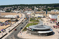 © Licensed to London News Pictures;21/07/2021; Weston-super-Mare, UK. Views of the seafront, Grand Pier, and beach on one of the hottest days of the year with a national extreme heat warning. Photo credit: Simon Chapman/LNP.