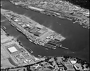 """Ackroyd 18931-1. """"Port of Portland. aerials. Swan Island. June 29, 1974"""" """"Swan Island and Portland Harbor with Chilean 'Esmeralda""""."""