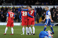 Gillingham's Deon Burton (20) celebrates with Chris Whelpdale (7) after he scores his sides 2nd goal to make it 2-0 .NPower league two match, Bristol Rovers v Gillingham at the Memorial stadium in Bristol on Saturday 5th Jan 2013. pic by Andrew Orchard, Andrew Orchard sports photography,