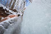 Frozen waterfall on on sunny winter day, near Sigulda, Gauja National Park (Gaujas Nacionālais parks), Latvia Ⓒ Davis Ulands | davisulands.com