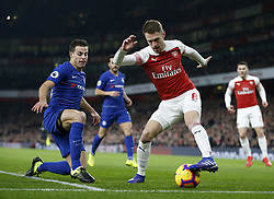 BRITAIN-LONDON-FOOTBALL-PREMIER LEAGUE-ARSENAL VS CHELSEA.(190120) -- LONDON, Jan. 20, 2019  Arsenal's Aaron Ramsey (R) vies with Chelsea's Cesar Azpilicueta during the English Premier League match between Arsenal and Chelsea at the Emirates Stadium in London, Britain on Jan. 19, 2019. Arsenal won 2-0.  FOR EDITORIAL USE ONLY. NOT FOR SALE FOR MARKETING OR ADVERTISING CAMPAIGNS. NO USE WITH UNAUTHORIZED AUDIO, VIDEO, DATA, FIXTURE LISTS, CLUB/LEAGUE LOGOS OR ''LIVE'' SERVICES. ONLINE IN-MATCH USE LIMITED TO 45 IMAGES, NO VIDEO EMULATION. NO USE IN BETTING, GAMES OR SINGLE CLUB/LEAGUE/PLAYER PUBLICATIONS. (Credit Image: © Matthew Impey/Xinhua via ZUMA Wire)