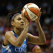 Damiris Dantas, Minnesota Lynx, in action during the Connecticut Sun Vs Minnesota Lynx, WNBA regular season game at Mohegan Sun Arena, Uncasville, Connecticut, USA. 27th July 2014. Photo Tim Clayton