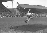 H894<br /> Aonach Tailteann Athletics - Croke Park. Long jump. 1928. H.M. Osbourne USA winner of the 3 standing jumps. (Part of the Independent Newspapers Ireland/NLI Collection)
